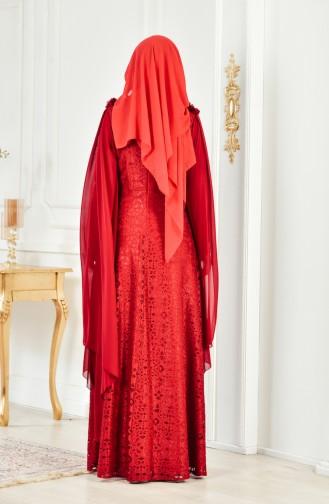 Lace V-neck Evening Dress 8113-07 Bordeaux 8113-07