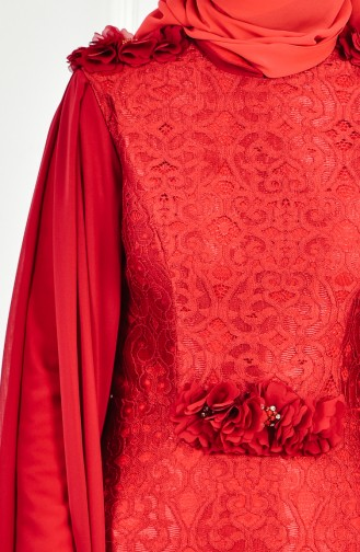 فستان سهرة بتفاصيل من الدانتيل وياقة سبعة 8113-07 لون خمري 8113-07