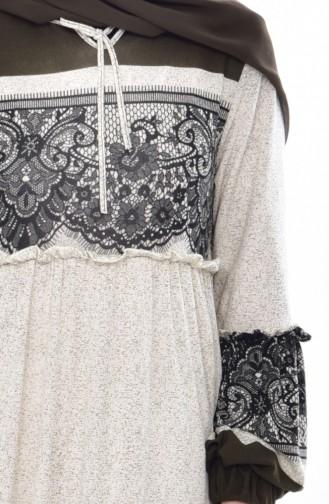 Kleid mit Falbel 7001-01 Khaki 7001-01