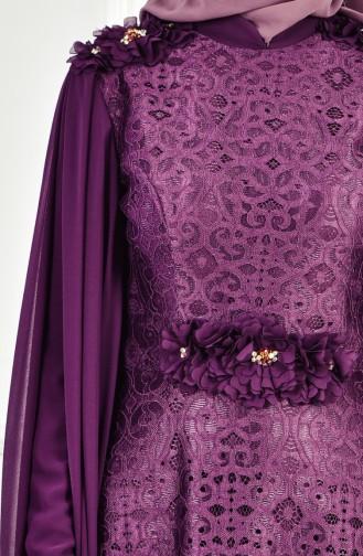 Abendkleid mit Spitzen Beschichtung 8113-05 Lila 8113-05