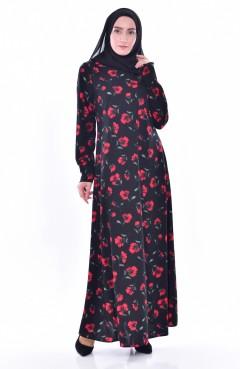 fa2c85f522ab1 Çiçekli Elbise 0188-01 Siyah Kirmizi