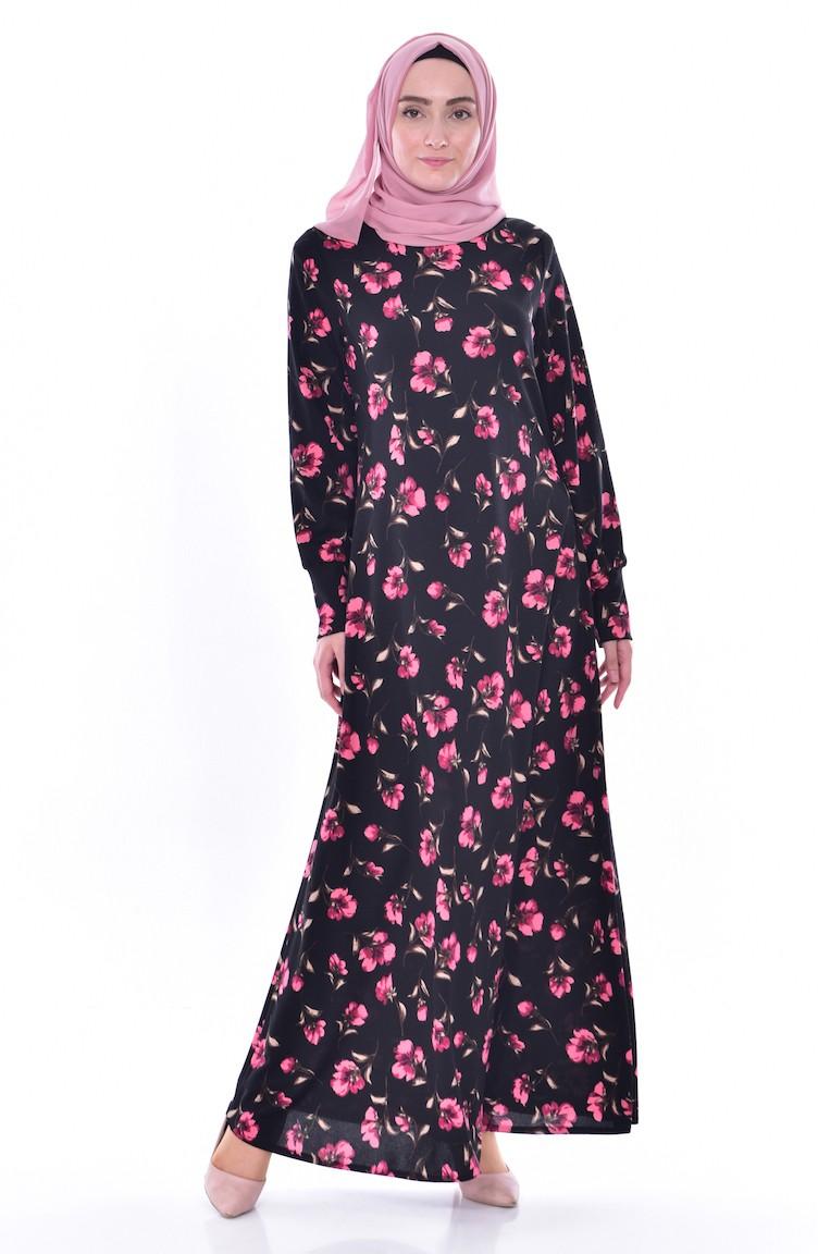 Puder 02 0188 Blumen Kleid Gemustertes Schwarz Ig76vbyYfm
