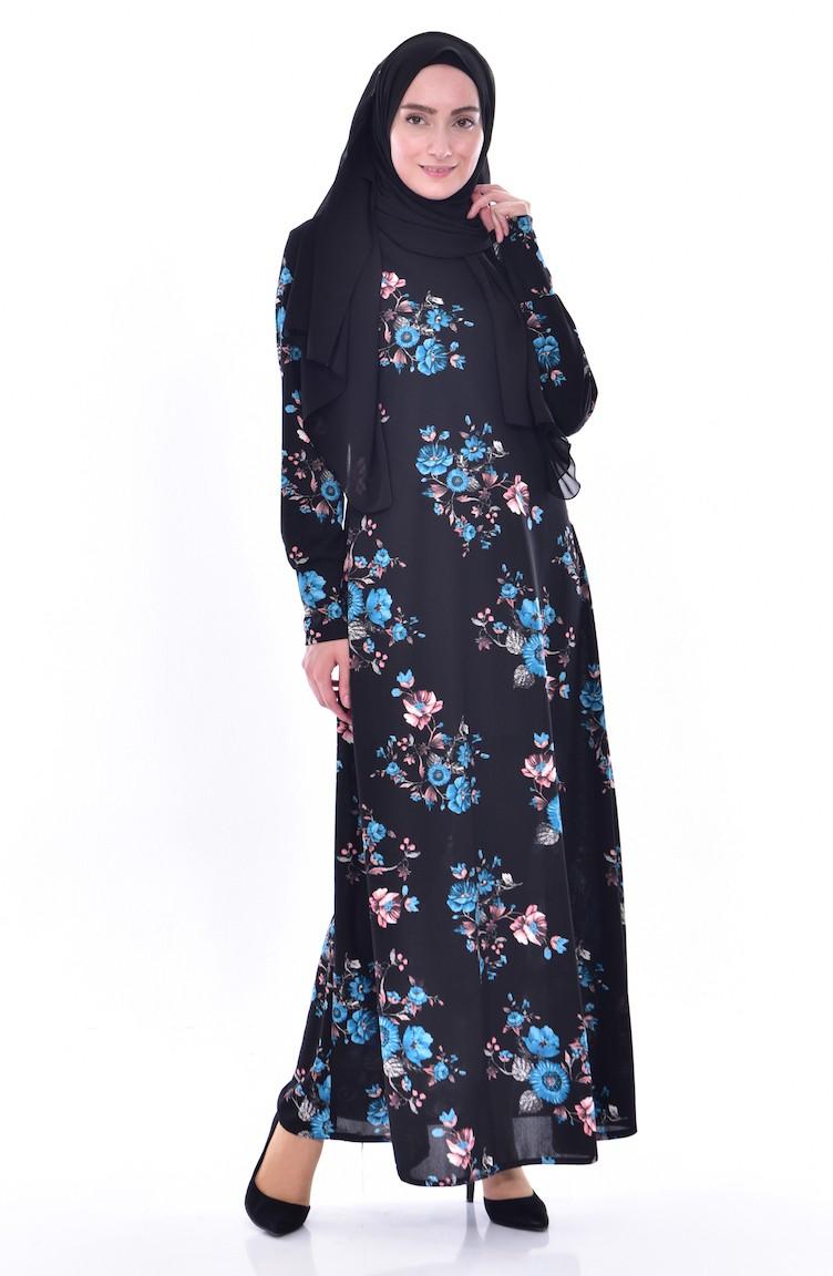 01 Kleid Schwarz Blumen Gemustertes Türkis 0187 OPZikXu