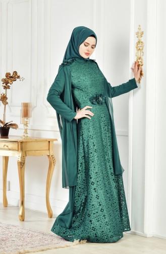 Lace V-neck Evening Dress 8113-06 Emerald Green 8113-06