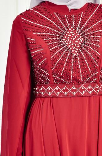 Strassstein Bedrukctes Abendkleid mit Perlen 8086-01 Weinrot 8086-01