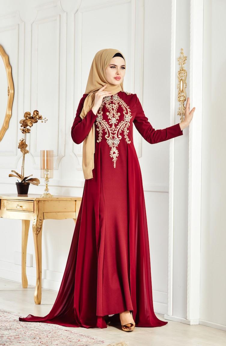 118a924a11d Robe de Soirée a Dentelle et Perles 6110-04 Bordeaux 6110-04