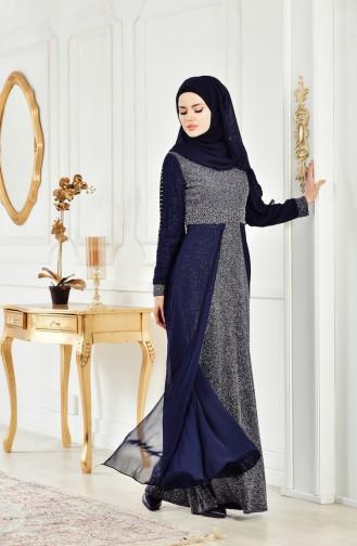 Robe de Soirée a Paillettes 3257-03 Bleu Marine 3257-03