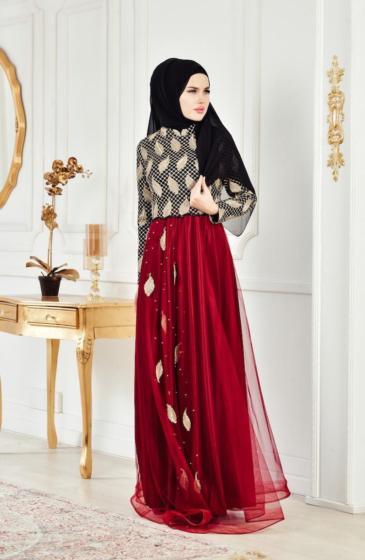 138c66acc1d Robe de Soirée Perlées 3122-01 Noir Bordeaux 3122-01