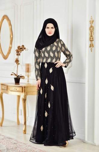 فستان سهرة يتميز بتفاصيل من الؤلؤ 3122-03 لون اسود 3122-03