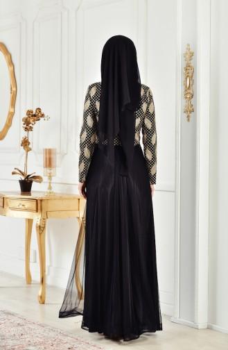 Robe de Soirée Perlées 3122-03 Noir 3122-03