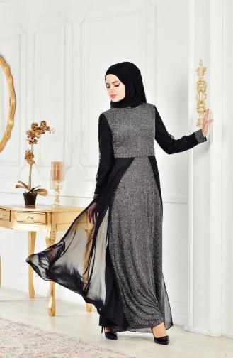فستان سهرة بتفاصيل لامعة 3257-02 لون اسود 3257-02