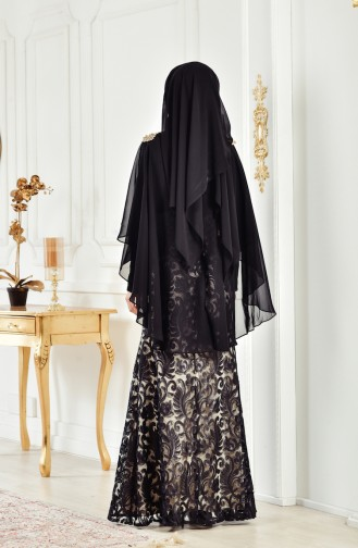 Robe de Soirée a Paillettes 8222-10 Noir 8222-10