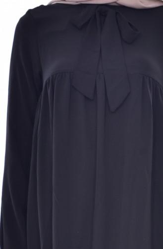 Kravat Yaka Büzgülü Tunik 1176-04 Siyah 1176-04