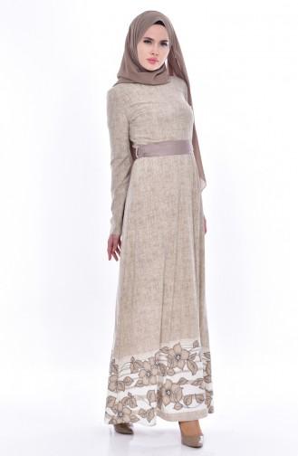Gemustertes Kleid 3259-02 Beige 3259-02