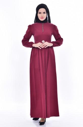 Kleid mit Brosche 9712-02 Weinrot 9712-02