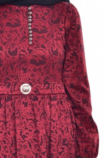 فستان بتصميم مُطبع 9714-02 لون خمري 9714-02