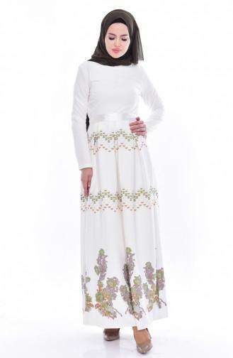 Garnili Kuşaklı Elbise 3340-01 Ekru 3340-01