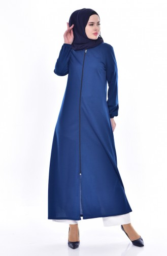 Sleeve Elastic Abaya 3044-03 Indigo 3044-03
