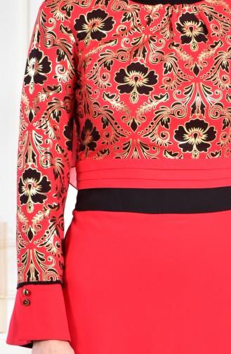 Varak Baskılı Elbise 2249-01 Kırmızı 2249-01