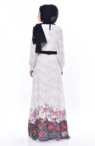 فستان مُطبع بتصميم حزام خصر 2677-01 لون كريمي 2677-01