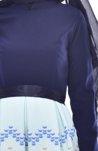 Robe Garnie a Ceinture 3340-06 Bleu Marine Vert Menthe 3340-06