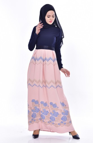 Garnili Kuşaklı Elbise 3340-04 Lacivert Pudra 3340-04