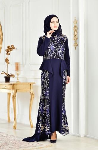 Sequined Evening Dress 6353-06 Navy 6353-06