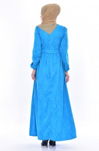 Jakarlı Elbise 9710-04 Mavi 9710-04