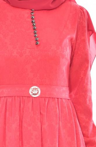Jacquard Dress 9710-03 Coral 9710-03