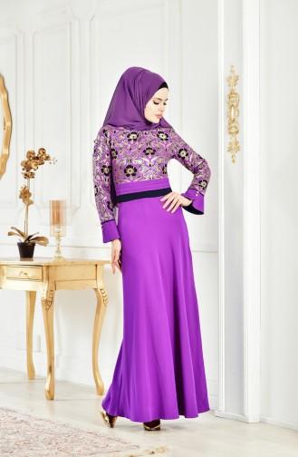 فستان مُطبع بتفاصيل لامعة 2249-03 لون بنفسجي 2249-03