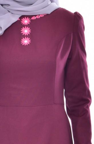 Embroidered Dress 7191-09 Plum 7191-09