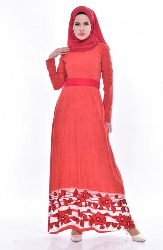Desenli Kuşaklı Elbise 3259-04 Nar Çiçeği