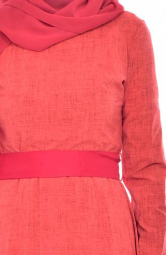 Robe a Motifs et Ceinture 3259-04 Fleurs de Grenadine 3259-04