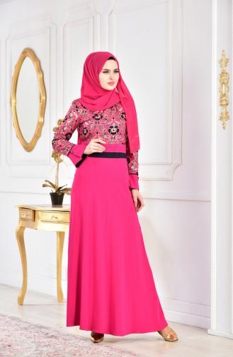 Robe Imprimée 2249-02 Rose 2249-02