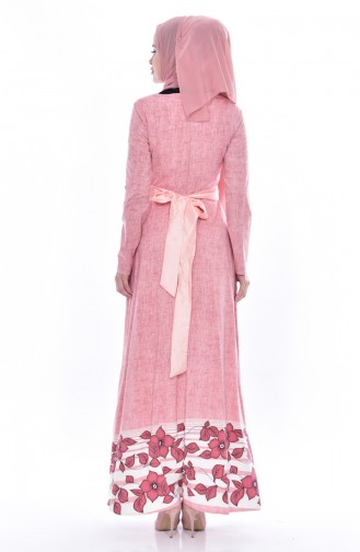 Desenli Kuşaklı Elbise 3259-06 Pembe
