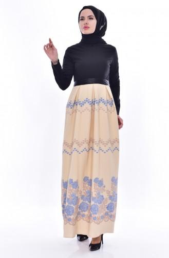 فستان بتصميم حزام للخصر 3340-05 لون اسود وبيج 3340-05