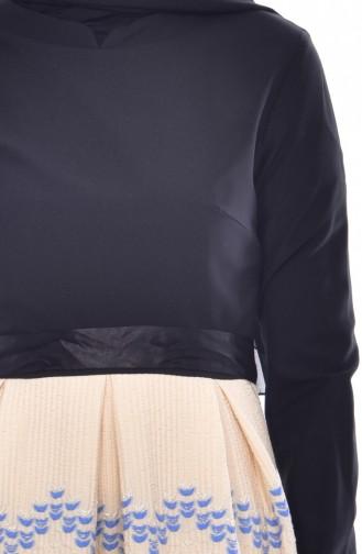 Patchwork Kleid mit Gürtel 3340-05 Schwarz Beige 3340-05