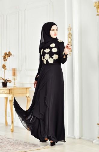 Robe de Soirée Fleur Appliquée 83032-03 Noir 83032-03