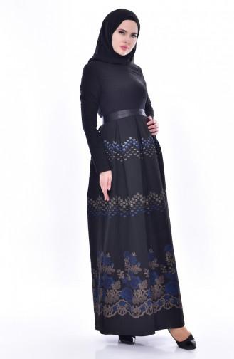 فستان بتصميم حزام للخصر 3340-03 لون اسود 3340-03