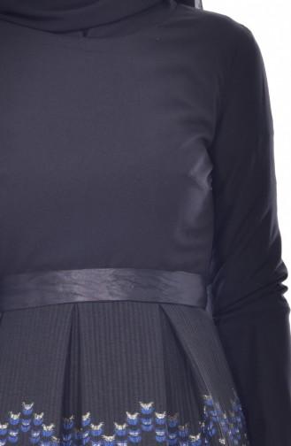 Robe Garnie a Ceinture 3340-03 Noir 3340-03