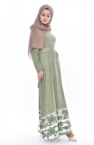 فستان مُطبع بتصميم حزام خصر 3259-03 لون أخضر 3259-03