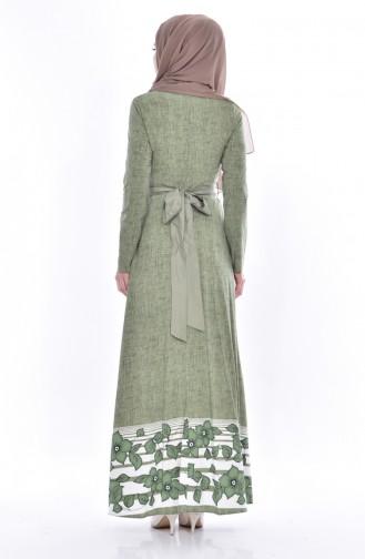 Desenli Kuşaklı Elbise 3259-03 Yeşil 3259-03