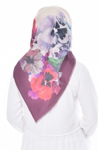 Blumen Bedrucktes Taft Kopftuch 95005-14 Zwetschge 14