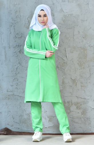 Zippered Tracksuit Suit 18090-08 Pistachio Green 18090-08