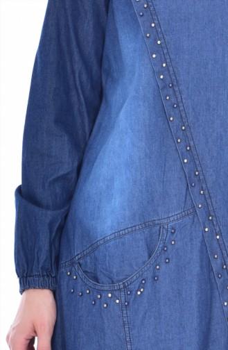 تونيك جينز بتفاصيل من اللؤلؤ 4005-02 لون ازرق داكن 4005-02
