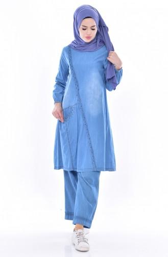 İncili Kot Tunik 4005-01 Mavi