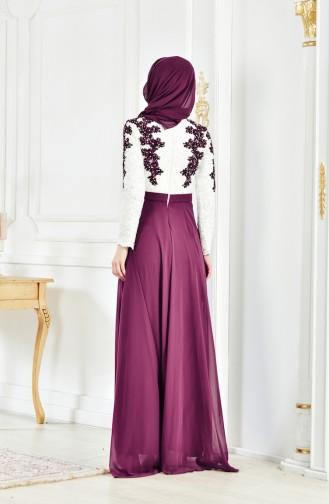 Abendkleid mit Spitzen 8202-03 Naturfarbe Zwetschge 8202-03
