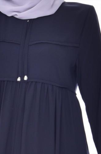 Zippered Abaya 5912-02 Navy Blue 5912-02