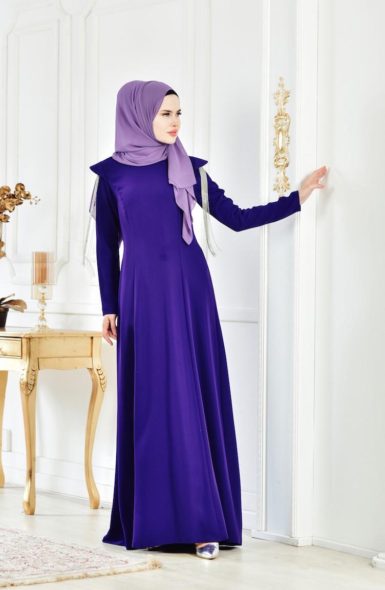 c048b4cbbb3cc فستان سهرة بتصميم اكمام مُزينة 1040-03 لون بنفسجي 1040-03
