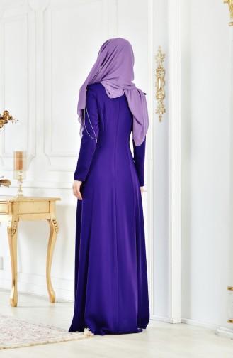 Abendkleid mit Volants 1040-03 Lila 1040-03